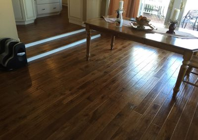 New installation of 5 inch prefinished handscraped Rustic Oak